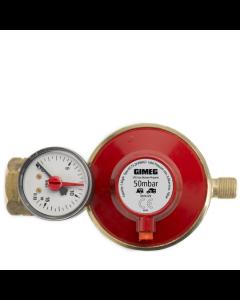 Gimeg gasdrukregelaar afblaasbeveiliging en manometer 50 mbar Kombi X 1/4 inch links